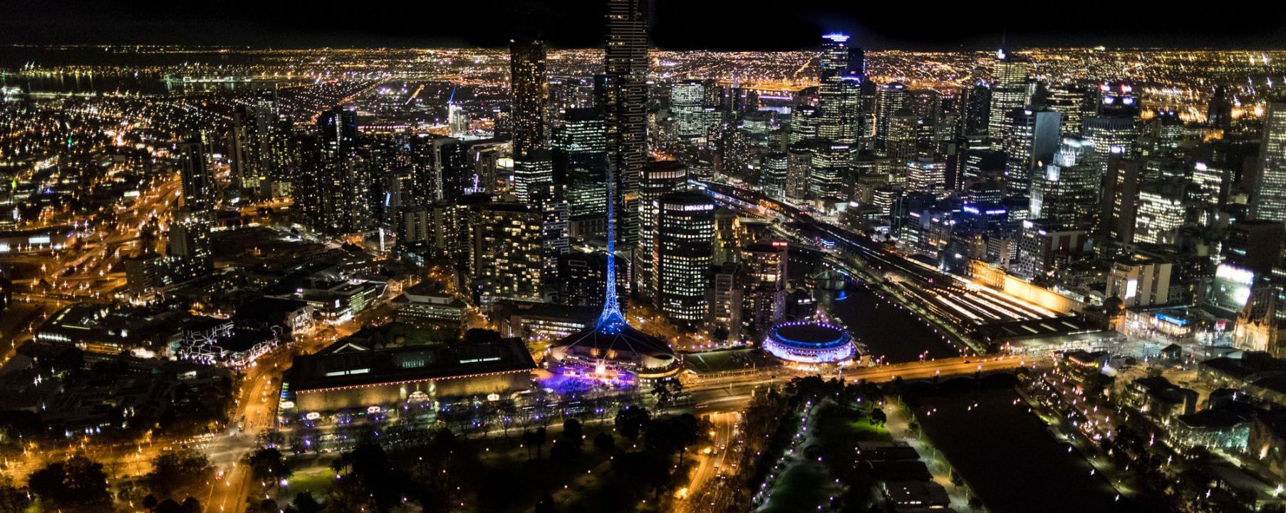Melbourne Night Helicopter Aerial Photograph