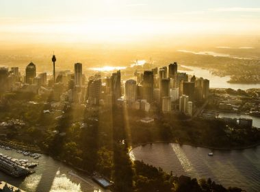 Sydney CBD Sunset Aerial Helicopter Photo