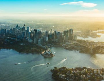 Sydney Harbour Sunset Aerial Photo